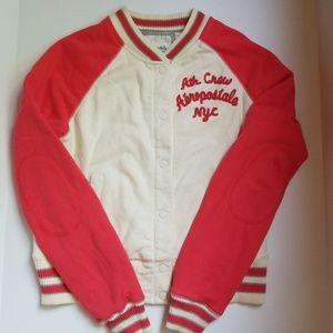 Aeropostale Varsity Jacket Pink White Size Large